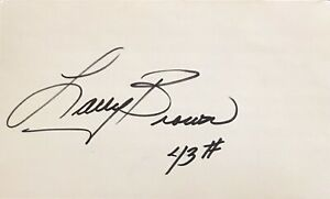 LARRY BROWN Signed 3x5 Index Card..WASHINGTON REDSKINS