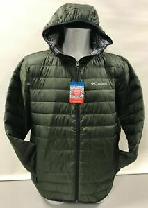 Men's Columbia Ellis River Thermal Coil Hooded Light Weight Jacket Large Green