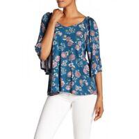 Bobeau 155752 Women's Denim Floral Color Tie Back Flutter Sleeve Top Sz. S-XL