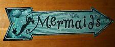 Mermaids Arrow Sign Tiki Beach Bar Pool Tropical Nautical Coastal Home Decor New