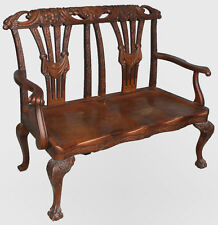 Antique Oak Bench with carved claw feet - Fancy