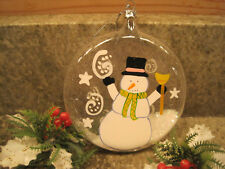 Brighten the Season  Glass Christmas Ornament Snowman Hand Painted w/ Glitter
