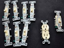 LOT OF 11 CO/ALR DUPLEX RECEPTACLES, single  POLE AND 3 WAY SWITCHES