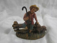 VTG ITALY FONTANINI PAPER MACHE NATIVITY FIGURE OF A SHEPARD BOY WITH DOG