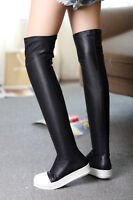 Fashion Women's Sneaker Pull On Thigh Low Flat Heels Over The Knee High Boots