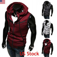 US Men Casual Hoodie Hat Sleeveless Zipper Jacket Vest Waistcoat Tank Tops Coat