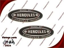 2x HERCULES BODY BUILDERS ETCHED ALUMINUM DATA PLATE EVANSVILLE INDIANA