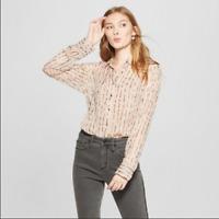 NEW Women's Striped Long Sleeve Shine Chiffon Blouse - A New Day -Blush -SizeXS