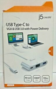 J5 Create USB Type C To VGA PROMOTED USB 3.0 with Power Delivery JCA378