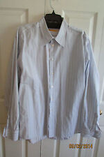 Bil's White Dress Shirt, XLarge, Long Sleeves cotton, Light Blue/gold