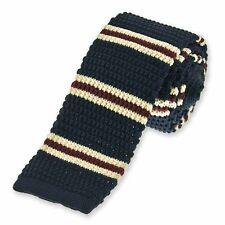 Navy Blue Repp Stripe Knit Skinny Tie, 2.25 Inch Width