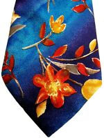 GIVENCHY Mens Tie Blue - Multi-Coloured Rustic Flowers VERY SOFT