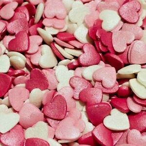 EDIBLE SUGAR HEARTS ROMANCE MIX SPRINKLES CUPCAKE TOPPERS VALENTINES DECORATIONS