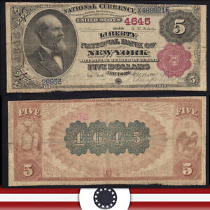 1882 $5 NEW YORK, NY NATIONAL BANK NOTE *BROWN BACK*  28933