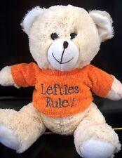"Unique Teddy Bear Plush wearing Orange Sweater ""Lefties Rule"" - Cream colored"