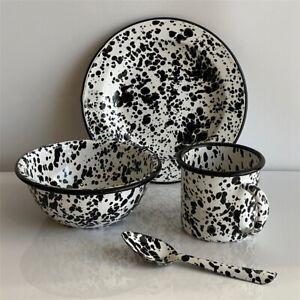 Enamel Marble Salad Plate Bowl Spoon Mug Vintage Black Abstract Collection