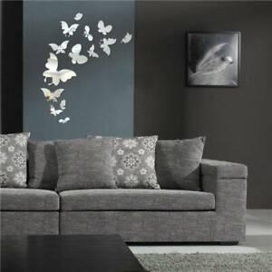 3D Acrylic Butterfly Mirror DIY Wall Home Decal Mural Decor Vinyl Art Sticker LG