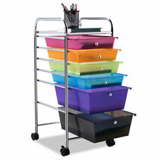 6 Drawer Office Room Rolling Storage Cart Scrapbook Paper Organize Tools Durable