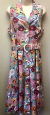 Vintage Floral Sleeveless Maxi Dress Womens Sz 14P Button Front Belted Sundress