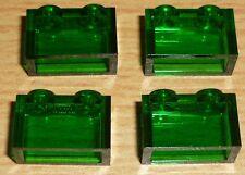 Lego 4 Steine 1 x 2 in transparent dunkel grün