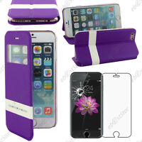 "Housse Coque Etui S-View Flip Cover Violet Apple iPhone 6S Plus 5,5"" Verre"