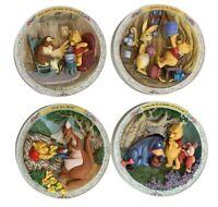 Bradford Exchange Winnie The Pooh 3D Plates Limited Edition Set Of 4 Vintage 90s