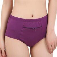 Women Panties Briefs Pocket Zipper Underwear Cotton Solid Comfortable Panties