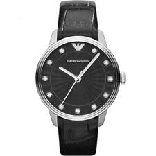 Brand New Emporio Armani Ladies Black Leather Watch AR1618