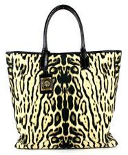 ROBERTO CAVALLI Beige & Black Leopard Print Canvas XL Shopping Tote Bag