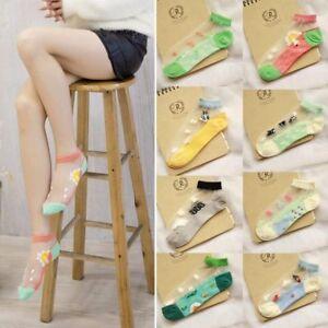 Fashion Women Low Cut Glass Silk Stretch Transparent Crystal Silk Socks Cute Sea