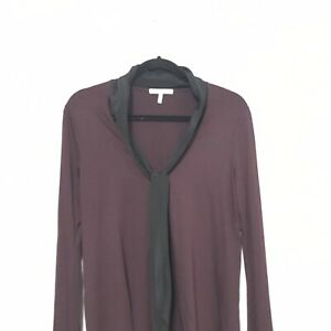 Three dots Top blouse v neck solid purple long sleeve size M women tie neck