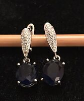 BRAND NEW 925 STERLING SILVER EARRINGS WITH NAVY CUBIC ZIRCONIA STONE £21.99