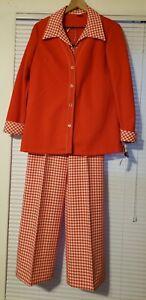 Vintage 70/'s Kmart Polyester Plaid 2pc Leisure Suit Pink Womens 1112 Disco