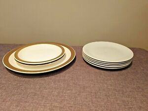 Vintage Collection of Poole Plates & Side Plates Chestnut Pattern & Plain White