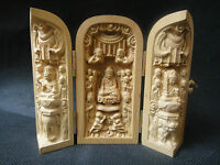 Old Hand Boxwood Carve Buddha Many sons Exorcise Exorcise Extensible Box Statue