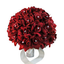 "11.5"" - Extra Large Apple Red roses-Classic Elegant wedding bouquet-bling handle"