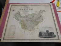 100% ORIGINAL LARGE CHESHIRE MAP BY GREENWOOD C1834 ORIGINAL COLOUR