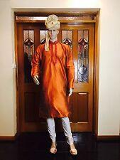 "42"" L Silk Sherwani Suit Indian Bollywood Mens Kurta Rusty Orange Kurtha KT13"