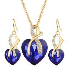 1pc Women Jewelry Set Elegant Austrian Crystal Heart Pendant Necklaces Earrings Blue