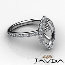 Diamond Engagement Marquise Shape Ring 18k White Gold Halo Setting Semi Mount 1C