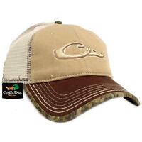 DRAKE WATERFOWL SYSTEMS 6 PANEL MESH BACK HAT BALL CAP W/ BOTTOMLAND CAMO TRIM