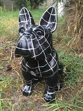 Bulldogge Spiderman, KUNSTBEMALUNG, Designer Deko Figur Hochglanz-Lack, GARTEN