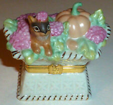 "LENOX TREASURES HINGED TRINKET BOX ""HARVEST BASKET"" w ACORN CHARM, Exclusive Ed."