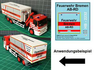 Mickon DH0010 Decals für Herpa 091305 MB Actros WLF Feuerwehr Bremen 1:87 H0