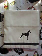 Doberman Pinscher Dog Window Valance natural denim w/ black dogs sale