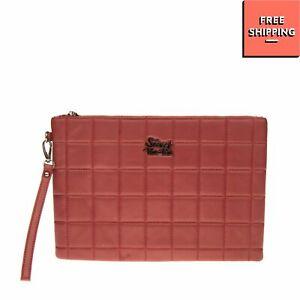 SECRET PON-PON Wristlet Clutch Bag Large PVC Leather Quilted Front Zip Closure