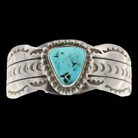 Signed EF Navajo Old Pawn Sterling Silver Natural Turquoise Cuff Bracelet