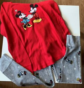 Minnie and Mickey Mouse Pajama Juniors Size Small Red Top Grey Bottom