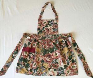 Handmade Floral Kitchen Bib Front Full Apron Pocket Shabby Chic Ties at Waist