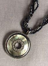 Graphite 4 Strand Twisted Bead Necklace & Metal/Abalone/Rhinestone Disc Pendant